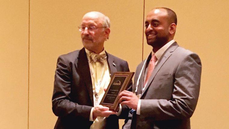 Pradeep Kumar Sacitharan (right) receives his ASBMR Young Investigator Award 2016, in Atlanta, USA.