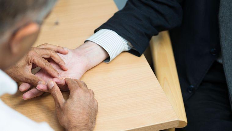 Dupuytren's disease hand examination.