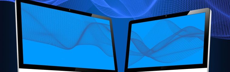 Two flat panel display screens