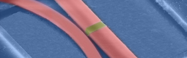 A close-up of the photonic memory device