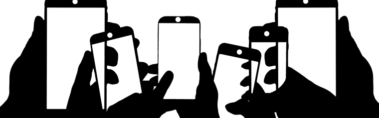 Graphic of hands holding mobile phones
