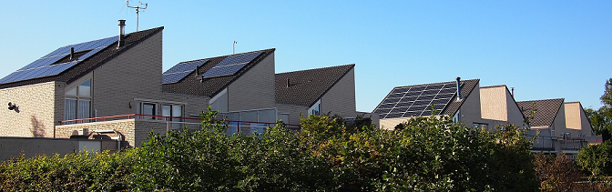 Solar panels on house roofs