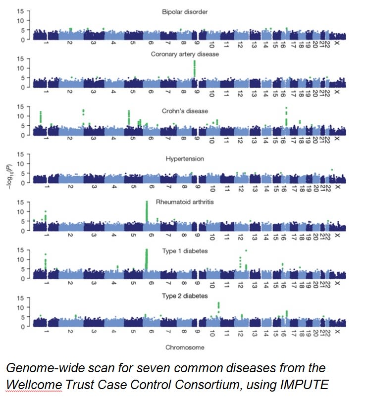 Diagram showing genetic profile for different diseases