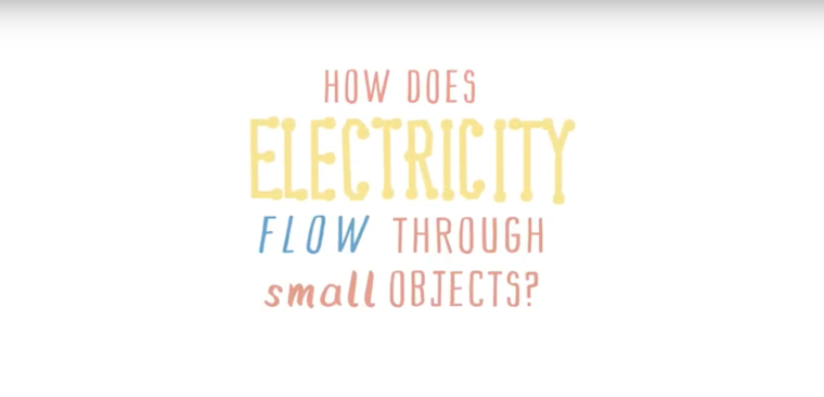 A still from the animation 'How does electricity flow through small objects?'