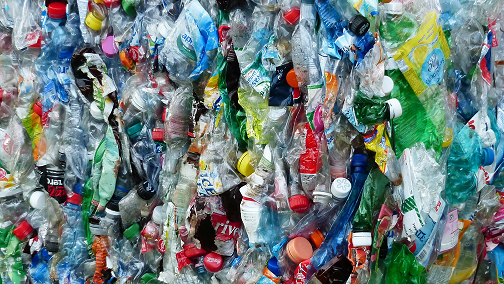 Plastic bottles packed together for recycling