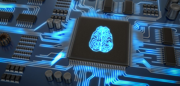 Computer chip with human brain superimposed