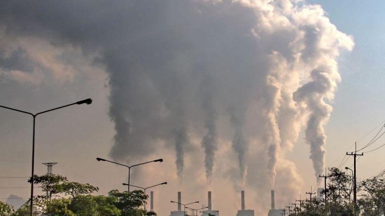 Smoke rising from industrial chimneys