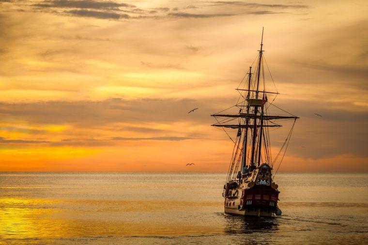 An old-fashioned sailing ship