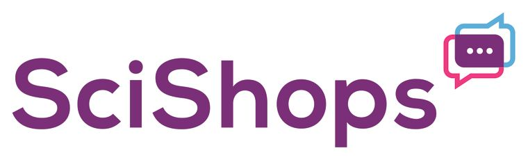 Scishops Logo with Text balloons expressing communicating partners