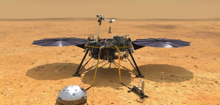 Artist's impression of the Insight probe on Mars