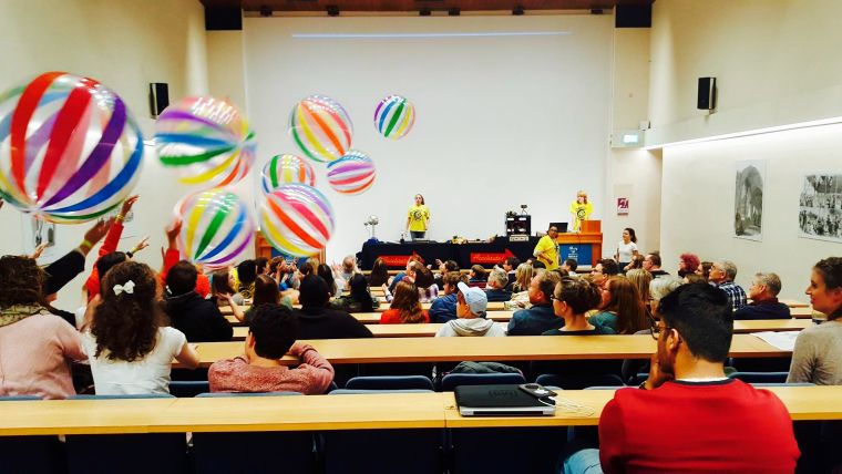Audience activity with beach balls at 'Accelerate'