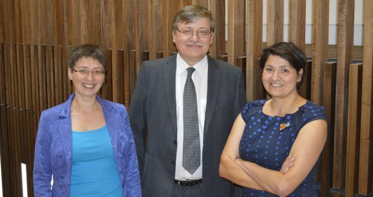 Professor Donal Bradley with Professor Ekaterina Shamonina and Professor Sonia Contera