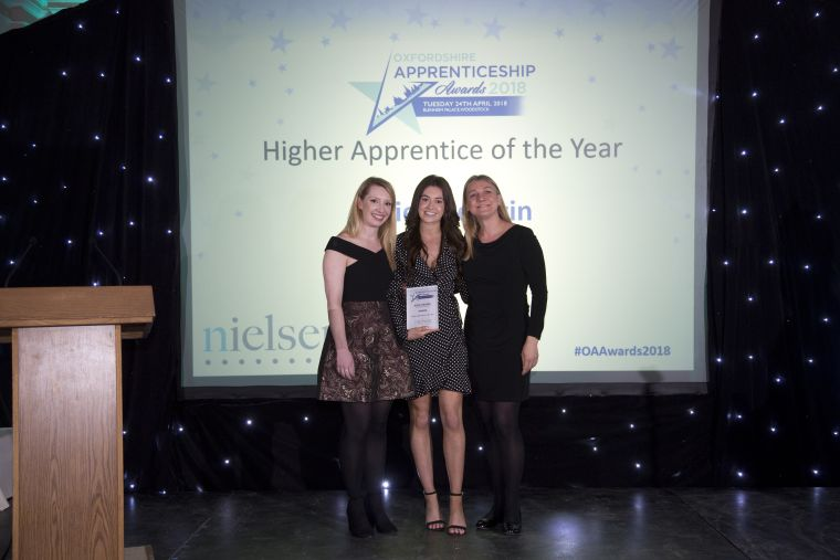 Katie Chegwin receiving her Higher Apprentice Award 2018.