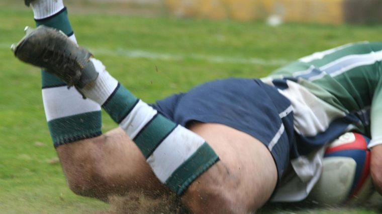 Rugby player on the ground