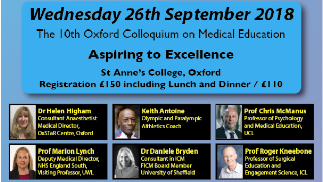 10th oxford colloquium on medical education wed 26 september 2018