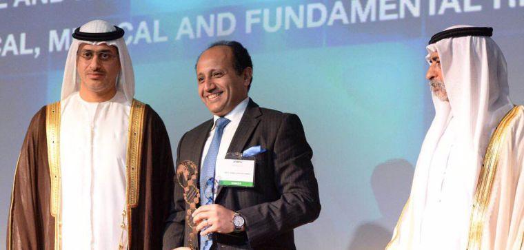 Professor Ahmed receiving UAEGDA's 'International Scientist of the Year' award
