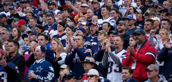 New England Patriots NFL Football fans at Gillette Stadium, New England Patriots vs. the Dallas Cowboys on October 16, 2011 in Foxborough, Boston, MA