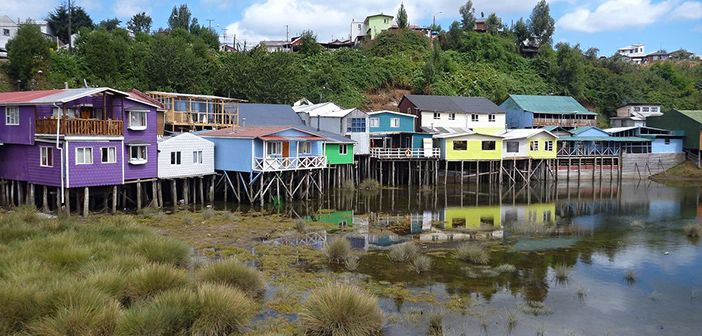 Houses in Ancud, Chiloé Island, Chile