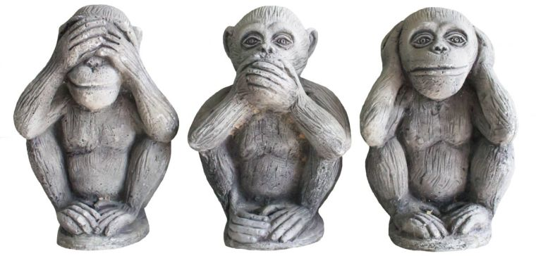 Image of three monkeys - 'see no evil, hear no evil, speak no evil'