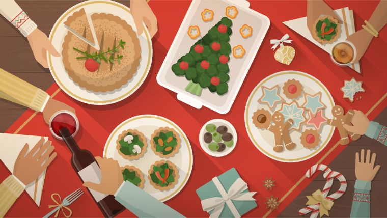 Illustration of a Christmas dinner