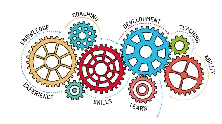 Illustration concept of differnt aspects of learning, including knowledge, ability, experience, skills and teaching