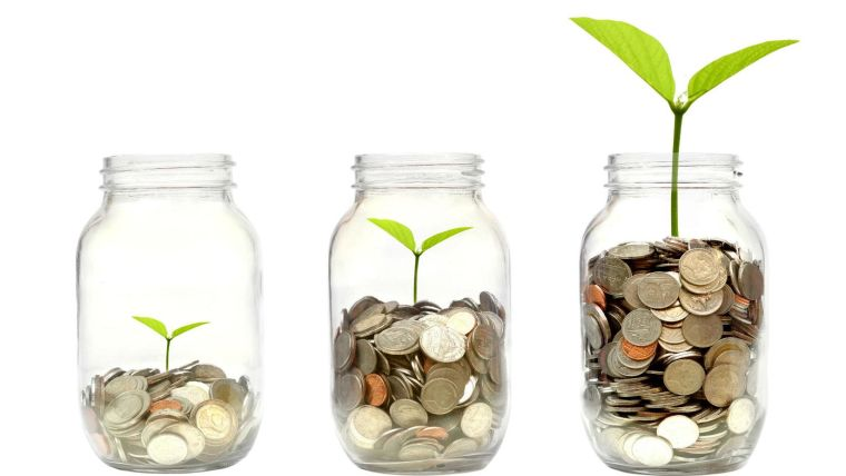 Three jars containing coins, each jar has a seedling growing, getting taller as the number of coins in the jar increases