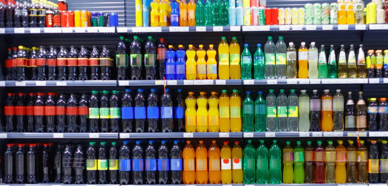 Soft drinks on shelves
