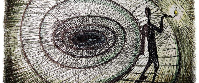 Psychology concept illustration of a dark figure walking down a spiral