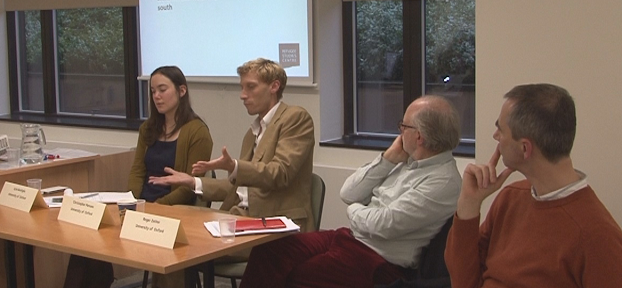 Panelists Ayla Bonfiglio, Christopher Parsons, Roger Zetter and Oliver Bakewell in discussion