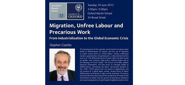 Migration unfree labour and precarious work from industrialization to the global economic crisis