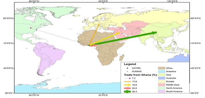 Destinations of Ghanaian transnational traders