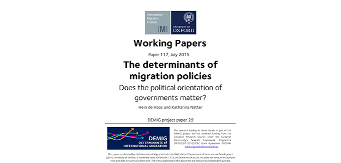 Latest working paper unpacks the role played by government political orientation in determining migration policies
