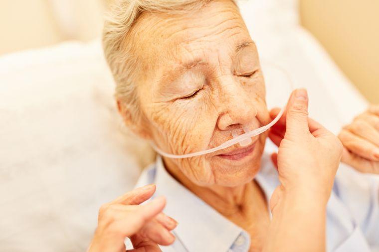 Senior person on oxygen