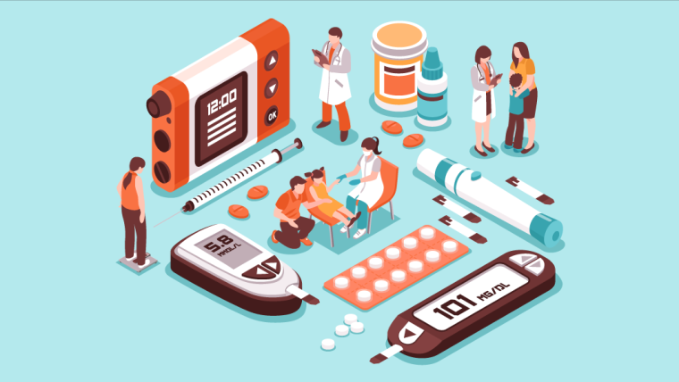 illustration of multiple small blood test devices, doctors and drugs