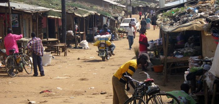 Isangano market in the centre of Nakivale refugee settlement, Uganda