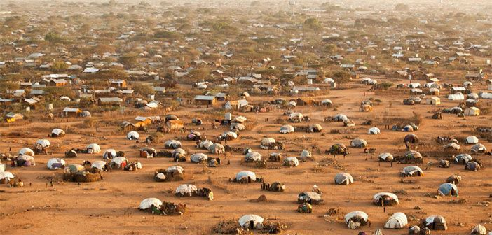 An aerial view of Dadaab refugee camp, Kenya