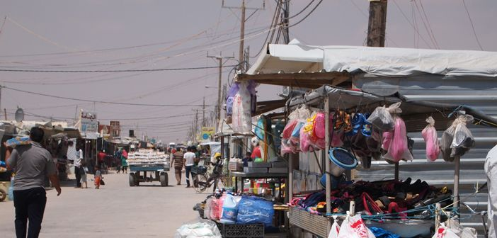 One of the market streets in Za'atari refugee camp, Jordan