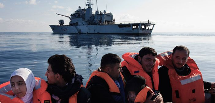 Syrian refugees are rescued in the Mediterranean Sea by crew of the Italian ship, Grecale