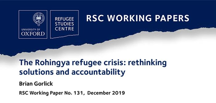 working paper cover for 'The Rohingya refugee crisis'