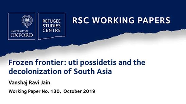 New working paper on uti possidetis and the decolonization of south asia