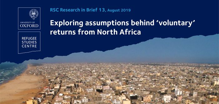 cover of research brief on 'voluntary' returns from North Africa showing image of Dakar in Senegal