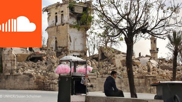 A vendor sells pink candy floss amid the ruins near the Aleppo citadel, Syria, November 2017