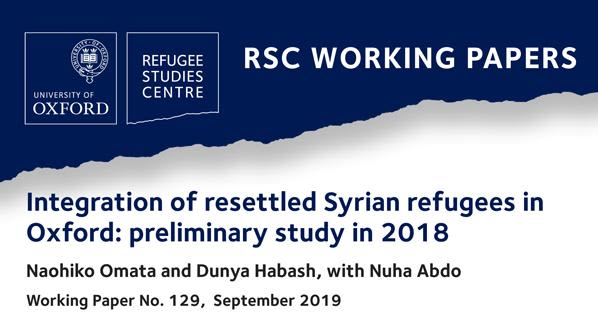 New working paper on the integration of resettled syrian refugees in oxford