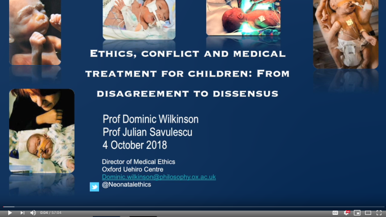 Lecture and book launch ethics conflict and medical treatment for children 2013 from disagreement to dissensus