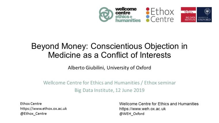 Beyond money conscientious objection in medicine as a conflict of interests