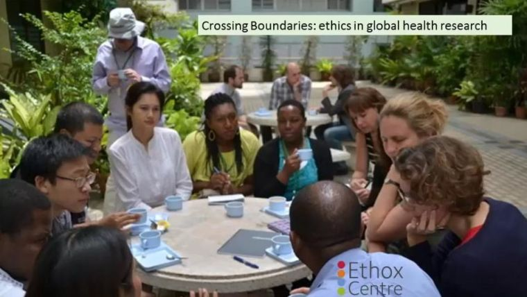 Crossing Boundaries: ethics in global health research, with picture of research group around a table