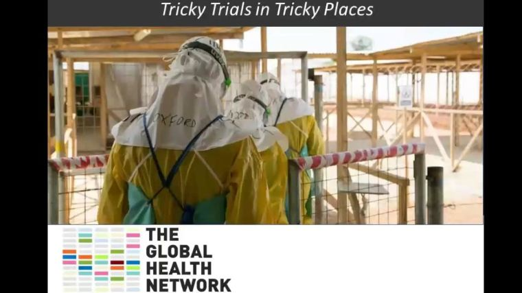 Trudie Lang: Tricky Trials in Tricky Places, with an image of an Ebola health care centre.