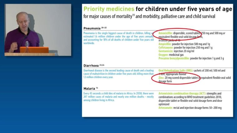 David Sinclair: Priority medicines for children under five years of age for major causes of mortality and morbidity, palliative care and child survival