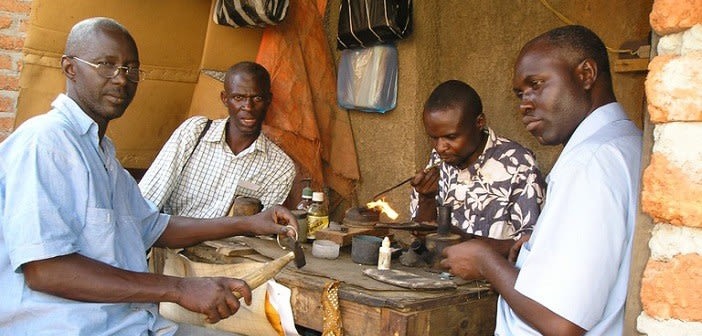 A gold forge where malians work in lubumbashi democratic republic of congo