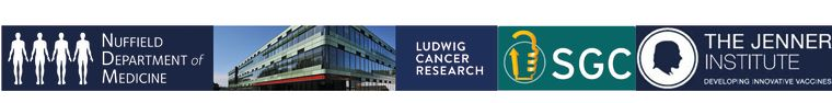 A banner containing the logos of the Nuffield Department of Medicine, Ludwig Cancer Research, The Structural Genomics Consortium and the Jenner Institute with a photo of the Old Road Campus Resarch Building